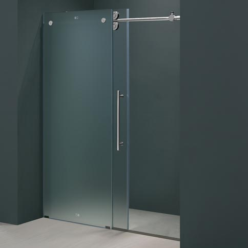 Vigo 48 Inch Frameless Shower Door 3 8 Quot Frosted Chrome