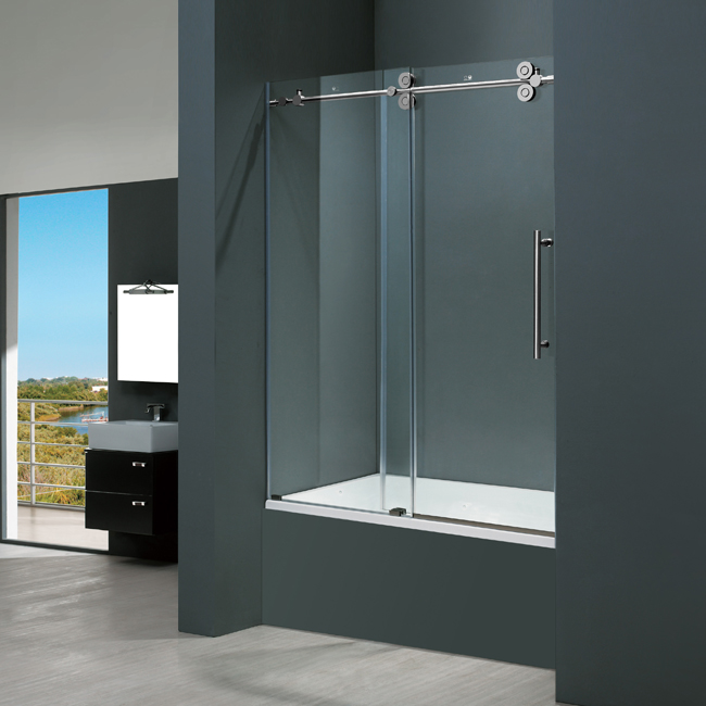bathtub shower custom surround maax made rimless for enclosure sliding enclosures frameless tub seamless glass door doors